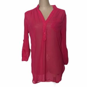 fun 2 fun Sheer Pink Blouse Sz S